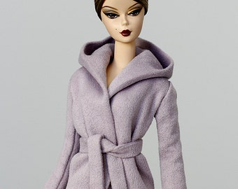 ELENPRIV lilac ultrasuede hooded jacket with full satin lining for Silkstone Barbie and similar body size dolls.
