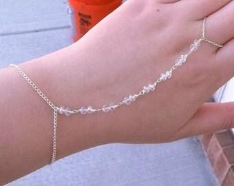 "Sparkling Iridescent AB Aura Swarovski Crystal Beaded Slave Chain Hand Chain Ring Chain Body Jewelry Bohemian Wedding Delicate Bracelet 8"""