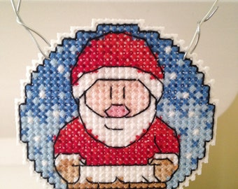 New Santa Claus Christmas Cross Stitch Ornament