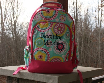 Monogram Girls Backpack Mint Pink Trim