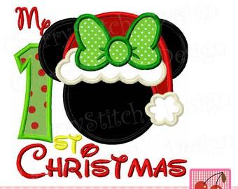 My 1st Christmas, Christmas Minnie  machine embroidery applique CH0107-4x4 5x5 6x6 inch