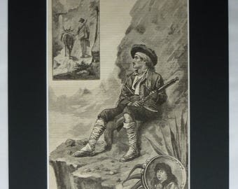 1880s Antique Spanish Print, Old Spain Gift for Spaniard, Mediterranean Decor, Available Framed, Europe Art, European Picture Hunter Artwork
