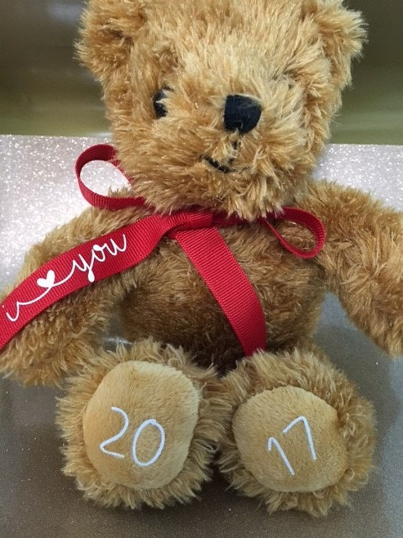 Teddy Bear, personalized with a name on the ribbon, I love you,  date on the feet,  11 inches, super soft.  Great Valentines gift, new baby.