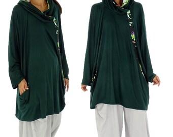 HS100GN1 tunic layered look shirt asymmetrical Gr. 40-52 Green