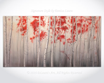 Birch Forest in Grey - Modern Birch Tree Painting ORIGINAL Contemporary Oil Landscape Huge Gallery Art on 88x44 by Denisa Laura Made2Order