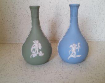 Choice of Blue or Green Wedgewood Jasperware Cupid Vase