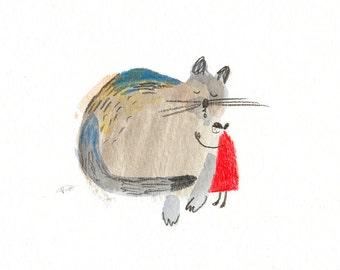 cat illustration PRINT, cat print, cat art print, giclée print of cat, pet lover, cat lover, i love cats print, cat wall art, *SMALL PRINT*