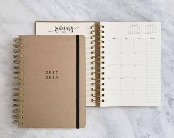 2017-2018 academic planner | student planner | kraft weekly planner | daily planner | agenda