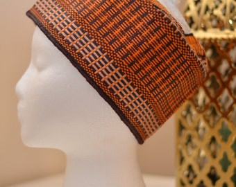 Orange Woven African Cap/Hat