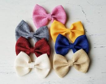 Burlap Bow clips, hair clips, baby girl clips, tan burlap, pink burlap, grey burlap , girl clips