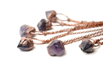 raw crystal amethyst necklace rough amethyst jewelry february birthstone stone pendant women gift for mom bohemian necklace copper necklace