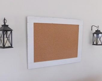 OFFICE BULLETIN BOARD - Cork Board - Farmhouse - Distressed Wood - Shown in Pure White - 30 x 40 - Many Color Options