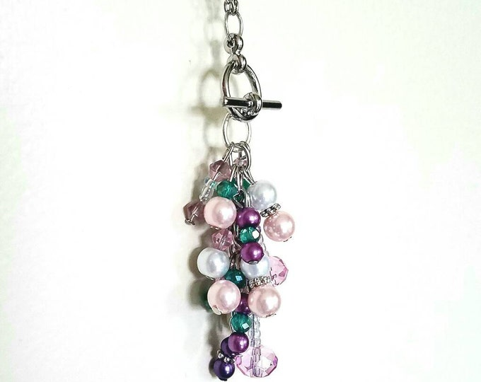 Interchangeable Pink White Purple Teal Beaded Toggle Pendant