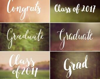 Graduation Photoshop Overlays - Graduation Announcement, Class of 2016, Congrats, Grad, Senior  - PNG files - INSTANT DOWNLOAD