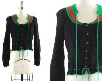 1970s black sweater • drawstring sweater • striped sweater • buttoned sweater • black wool sweater S/M