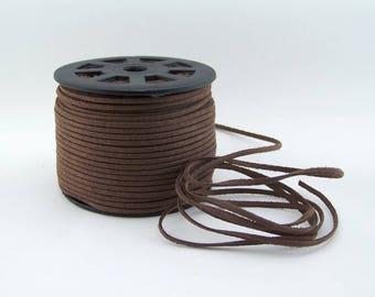 Dark Brown Faux Suede Cord 20 Feet USA Seller