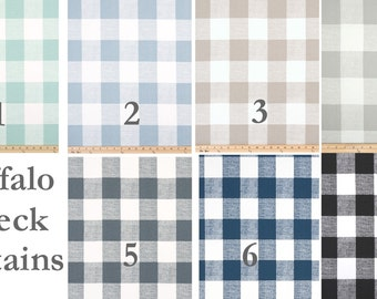 """BUFFALO CHECK CURTAINS, 6 Colors,Black Curtains,Large Check Curtains, Buffalo Check,Pair Drapery Panels,24"""" Wide,52"""" Wide,Valance"""