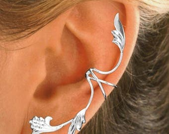 Full Ear, Leaf Flower Non-Pierced Ear Cuff in Sterling Silver or Gold on Sterling #5-FL-