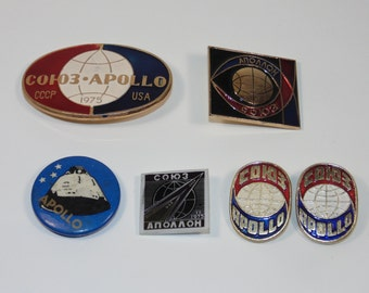 V5 Lot Vintage Estate Lot Rare 6 pieces Pins Lapels Brooches Apollo American Program USSR Russian Space Missions Space Soviet СССР Usa