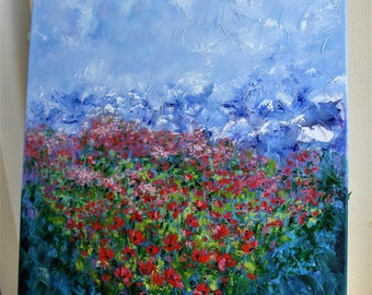 Poppies field, ORIGINAL ABSTRACT palette knife oil painting, landscape painting, home decor, RESERVED