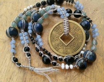 SALE Good Fortune / Abundance Affirmation Chinese Coin Macrame Beaded Necklace Light Blue Black White Pottery and Glass Bead Roxxi1018
