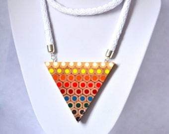 Colored pencils Rainbow triangle necklace with long cotton rope