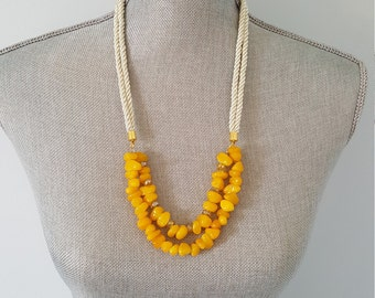Yellow glass beaded statement necklace