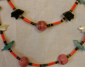 Old Pawn Heishi Zuni Bird & Bear Necklace, Estate Jewelry, Southwestern Jewelry, Vintage,  (Item#29)