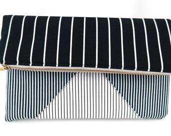 Striped on Stripes - Fold-Over Clutch | Stripes | Black | White | Triangle Accent