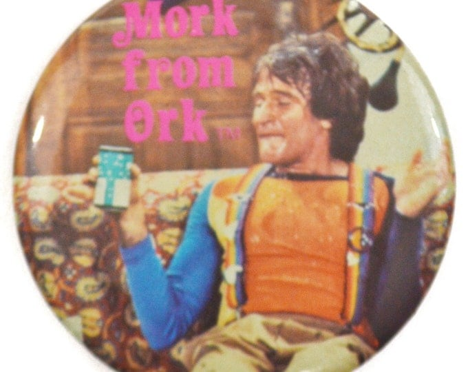 Vintage 70s Mork from Ork Pinback Button Badge Pin