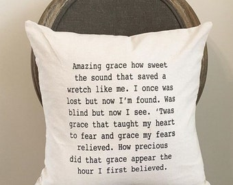 Amazing Grace pillow cover