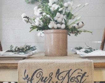 Our Nest Burlap Table Runner, Table Runner farmhouse style runner * Free Shipping*