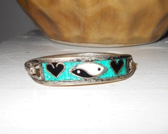 1970s vintage Pawn western sterling silver child's bracelet Mexico Yin Yang heart inlaid turquoise and onyx stone