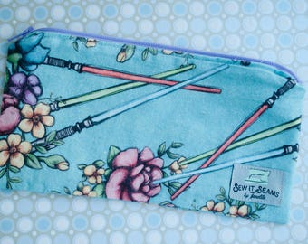 Floral wars-star wars lining zipper pouch- medium