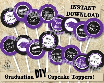 Graduation cupcake topper printable template DIY