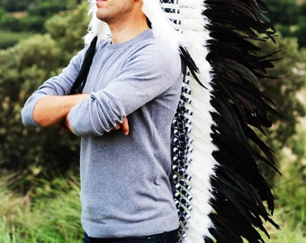 PRICE REDUCED N91-Extra Large Natural colour  Feather Headdress (43  inch long )/ war bonnet