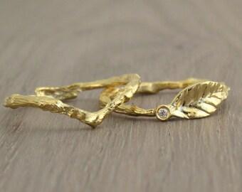 Small Diamond Ring, Leaf Diamond Ring, Diamond Leaf Ring, Twig Ring, 14k Gold Ring, Diamond Stacking Ring, Gold Ring, Unique Gold ring, Gift