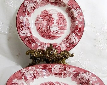 Vintage 1940s, Coupe Soup Bowl in English Scenery Pink (Older, Smooth) by Wood & Sons