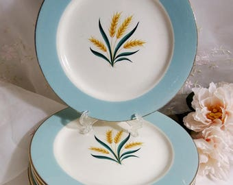 1960s Vintage// Viking by International // Salad Plate // Cavalier Eggshell // Aqua Rim, Wheat / Set of 4 ea
