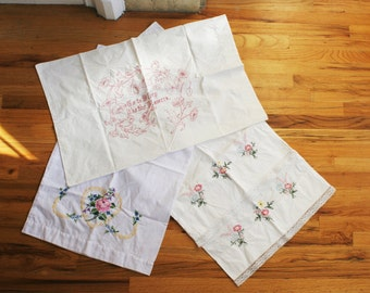 Vintage White Pillowcases, Embroidered, Cross Stitch Flowers, Heart, Lot of Four