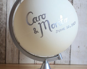 Wedding Guestbook Alternative Globe | Choice of Colours | Custom Lettering | Silver Stand | Hand Painted | Personalised Quote | Wedding