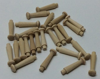 """1 3/4"""" Wood Shaker Pegs - Set of 25, or 50 - Unfinished Wood - 1/4"""" Tenon - Wooden Shaker Peg - DIY Shaker Peg Rack"""