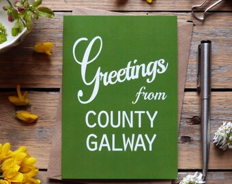 Galway .. Greetings from County Galway card, Irish cards, Éire, Irish made greeting cards