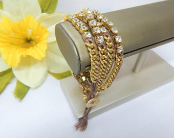 Chan Luu Wrap Bracelet Gold Tone with Swarovski Crystal Accents