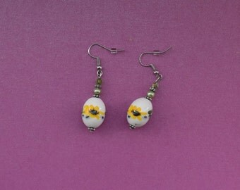 Sunflower earrings, summer flower earrings, yellow flower earrings, silver sunflower jewelry, summer earrings, summery earrings, bright gift