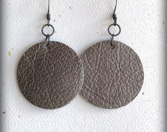 Leather Circle Earrings; Metallic Gun Metal Leather Earrings; Lightweight; Statement Earrings