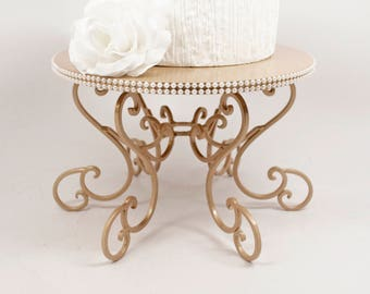 Champagne Pearl Cake Stand Scroll Pedestal. Party or Wedding Platter. Cupcake Display. Cake Plate. Cake Table Decor. Champagne Cake Plate