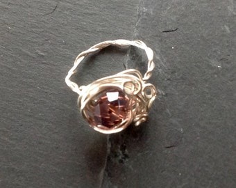 Wire Wrapped Ring, Purple Crystal Ring, Statement Ring,Amethyst Look Ring