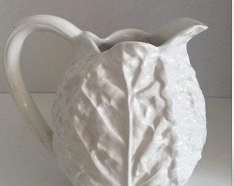 white cabbage leaf pitcher