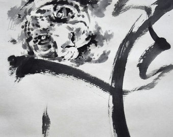 Tiger Abstract Painting, Original Zen Art, Japanese Artwork, Zen Painting, Minimalist Art, Wild life,